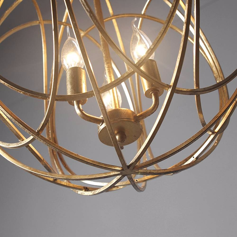 Ceiling Pendant Light Chain Droplight Iron Hanging Fixtures Hand-made Gold Foil Painting Round Shape Modern Chandelier Indoor Decorative Lamp 3 Lamp L17.7x H18.1xW17.7 Inches UL Listed-L Size by SWM