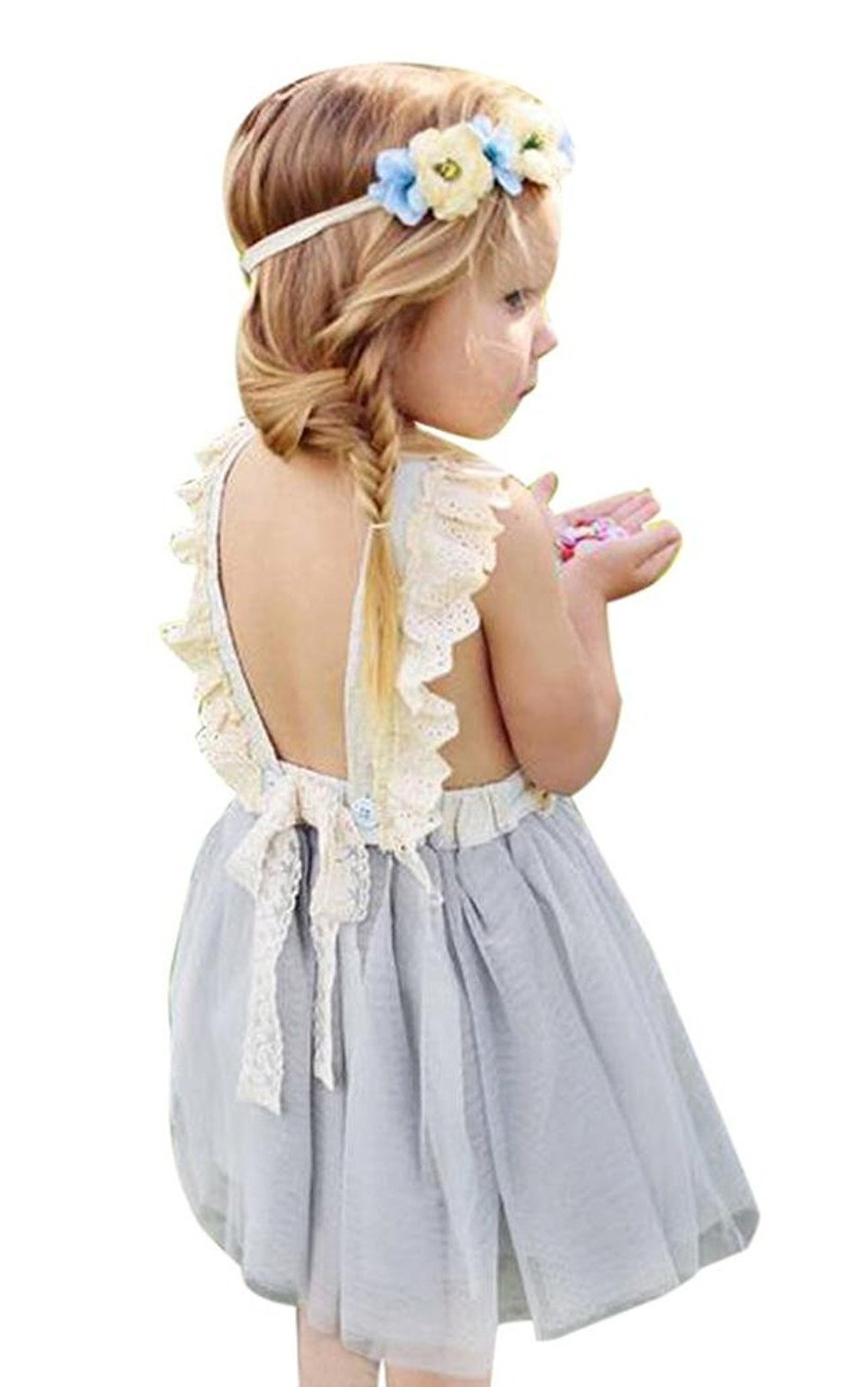 LOliSWan Little Girls Fairy Lace Princess Dress Ruffles Ballerina Tulle Tutu Toddlers Dress Up Outfits For Wedding Party (Gray, 3T)