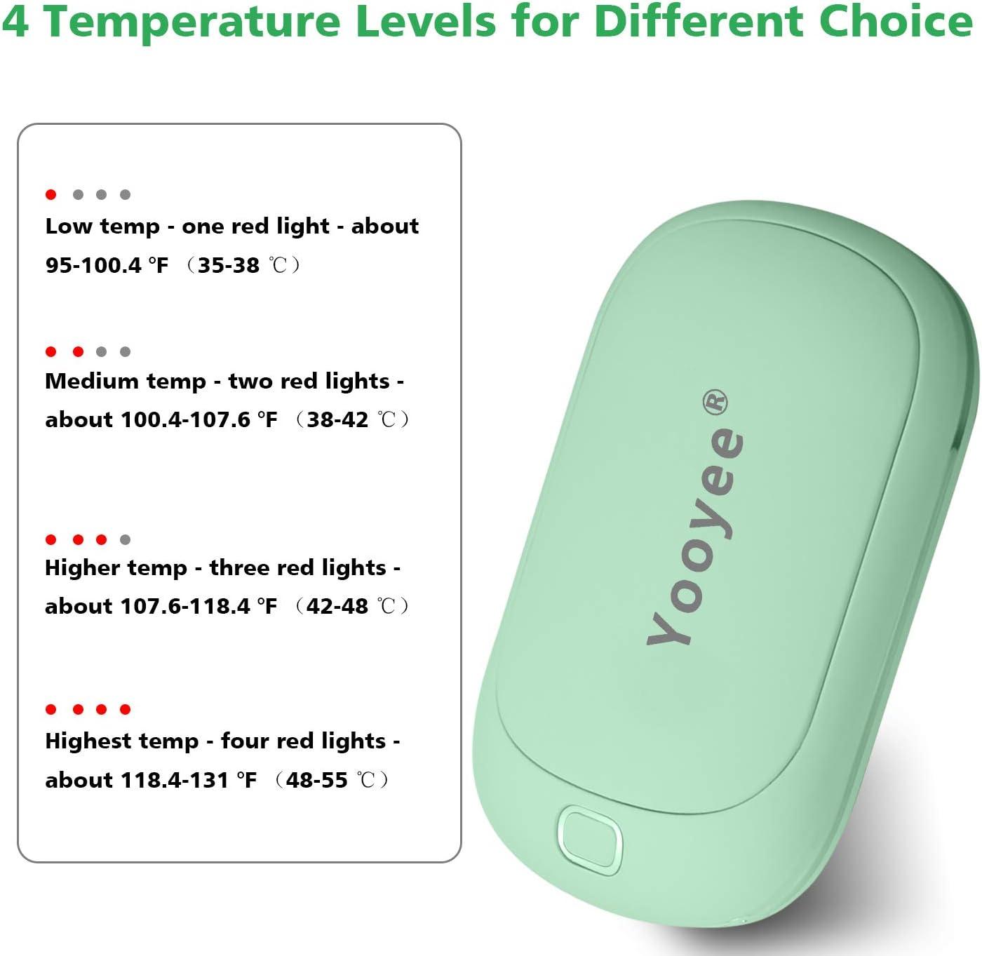 YOOYEE Hand Warmers Rechargeable USB Electric Handwarmer Power Bank 5200mAh Port