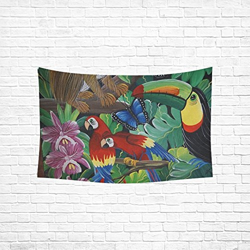 (VNASKL Parrot Birds Colorful Art Costa Rica America Tapestry Abstract Painting Tapestry Wall Hanging Art For Living Room Bedroom Dorm Home Decor 60