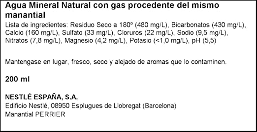 Perrier Agua Mineral Natural con Gas - Pack de 6 x 20 cl - Total: 120 cl: Amazon.es: Amazon Pantry