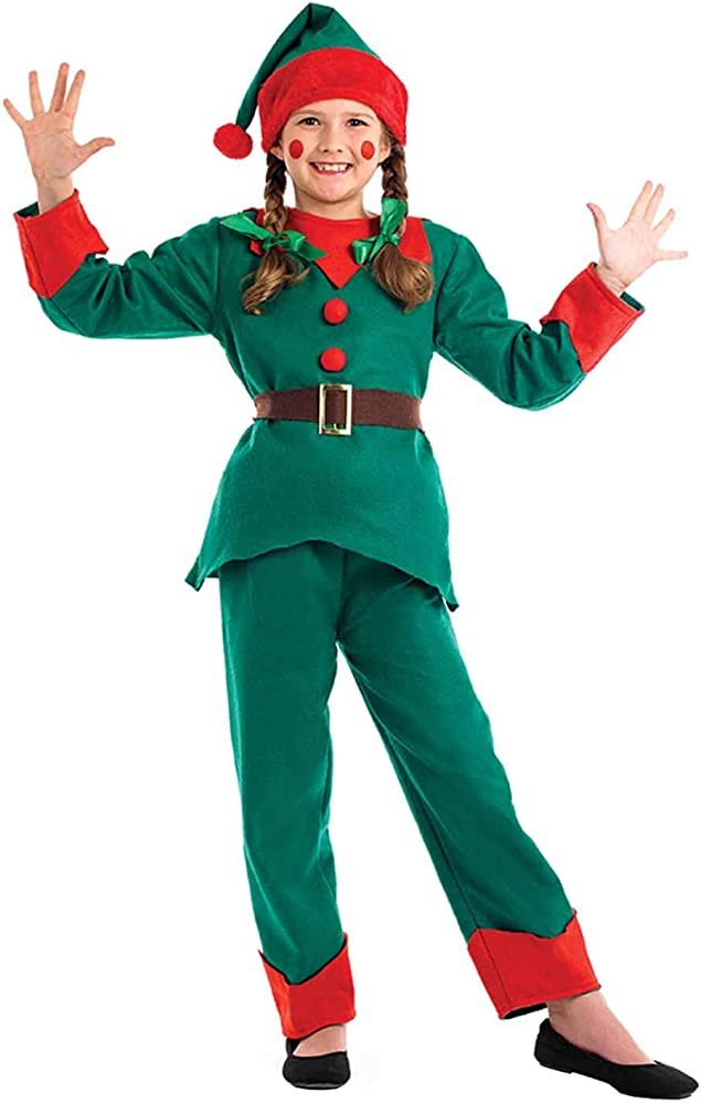 Child Elf Costume Boys Christmas Kids Fancy Dress Santas Little Helper Outfit