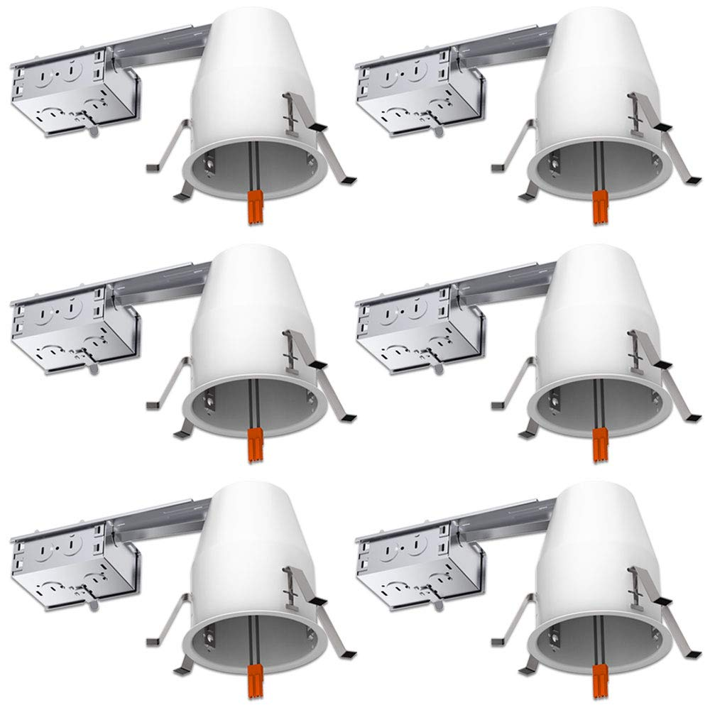 Sunco Lighting 6 Pack 4 Inch Remodel Housing, Air Tight IC Rated Steel Can, 120-277V, TP24 Connector Included for Easy Install - UL & Title 24 Compliant