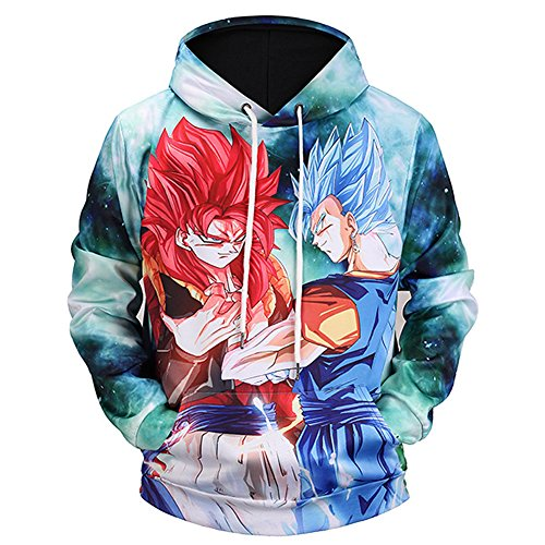 PIZZ ANNU Neutral Long Sleeve 3D Printed Cartoon Dragon Ball Series Pullover Hooded Sweater Coat (Green, XL) -