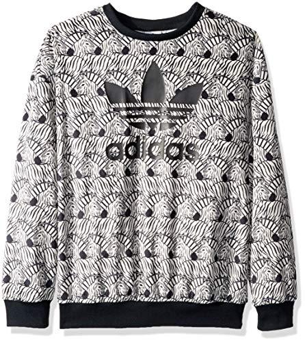adidas Originals Girls' Big Zebra Print Crew, Clear/Brown/Black, L (Adidas Girls Sportbands)