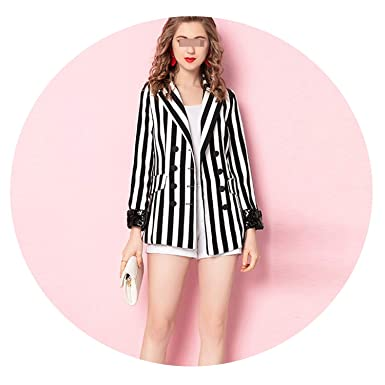 0dd9fe1d8e2b1 Fashion Striped Sequined Women Blazer Slim Double Breasted Outerwear Jacket  Female Office Work Suit at Amazon Women's Clothing store: