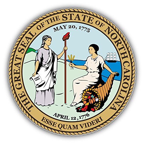 North Carolina State Seal USA Art Decor Vinyl Sticker 5'' X (North Carolina State Seal)
