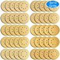 AUSTOR 50 Pieces Gold Sanding Discs, 5 Inch 8 Holes Dustless Hook and Loop 60/ 80/ 100/ 120/ 150/ 180/ 240/ 320/ 400/ 800 Grit Sandpaper Assortment for Random Orbital Sander