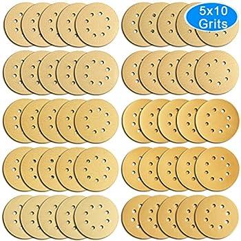 AUSTOR 50 Pieces Gold Sanding Discs, 5 Inch 8 Holes Dustless Hook and Loop 60/ 80/ 100/ 120/ 150/ 180/ 240/ 320/ 400/ 800 Grit Sandpaper Assortment for Random Orbital Sander
