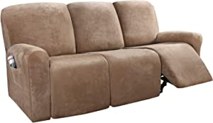 H.VERSAILTEX 8-Pieces Recliner Sofa Covers Velvet Stretch Reclining Couch Covers for 3 Cushion Sofa Slipcovers Furniture Covers Form Fit Customized Style Thick Soft Washable(Large, Camel)