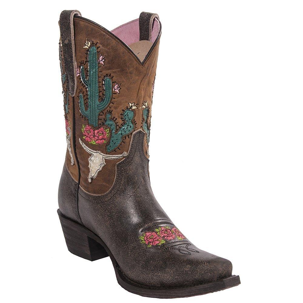 Lane Women's Junk Gypsy by Dark Bramble Rose Western Boot Snip Toe - Jg0015c B06Y6DYGSR 9 B(M) US|Brown