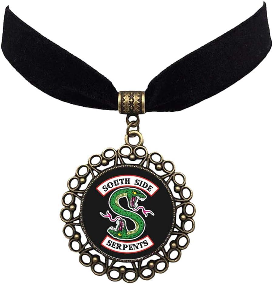Riverdale Southside Serpents Collier et boucles doreilles avec pendentif bomb/é en verre