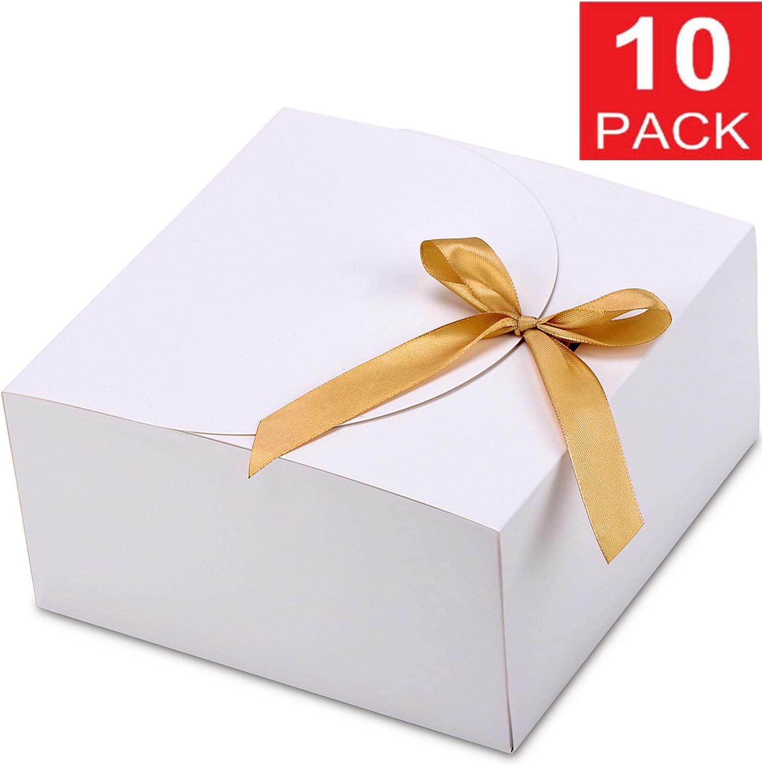 Gift Boxes with Lids, WantGor 10 Pack 8x8x4inch Kraft Paper Gift Wrap Boxes for Gifts, Bridesmaids, Chocolate, Cupcake, Crafting (White)