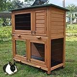 FeelGoodUK 2 stufiger Hasenstall / Kaninchenstall mit Dach