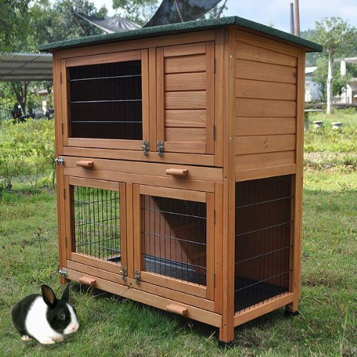 BUNNY BUSINESS 2-Tier Rabbit Hutch and Run Guinea Pig House Cage