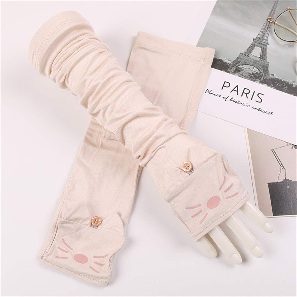Comfortable UV Protection Sleeve Cotton Thin Female Cat Summer Outdoor Driving Long Sunscreen Sun Protection Gloves Durable (Color : Beige, Size : One Size-Five Pairs)