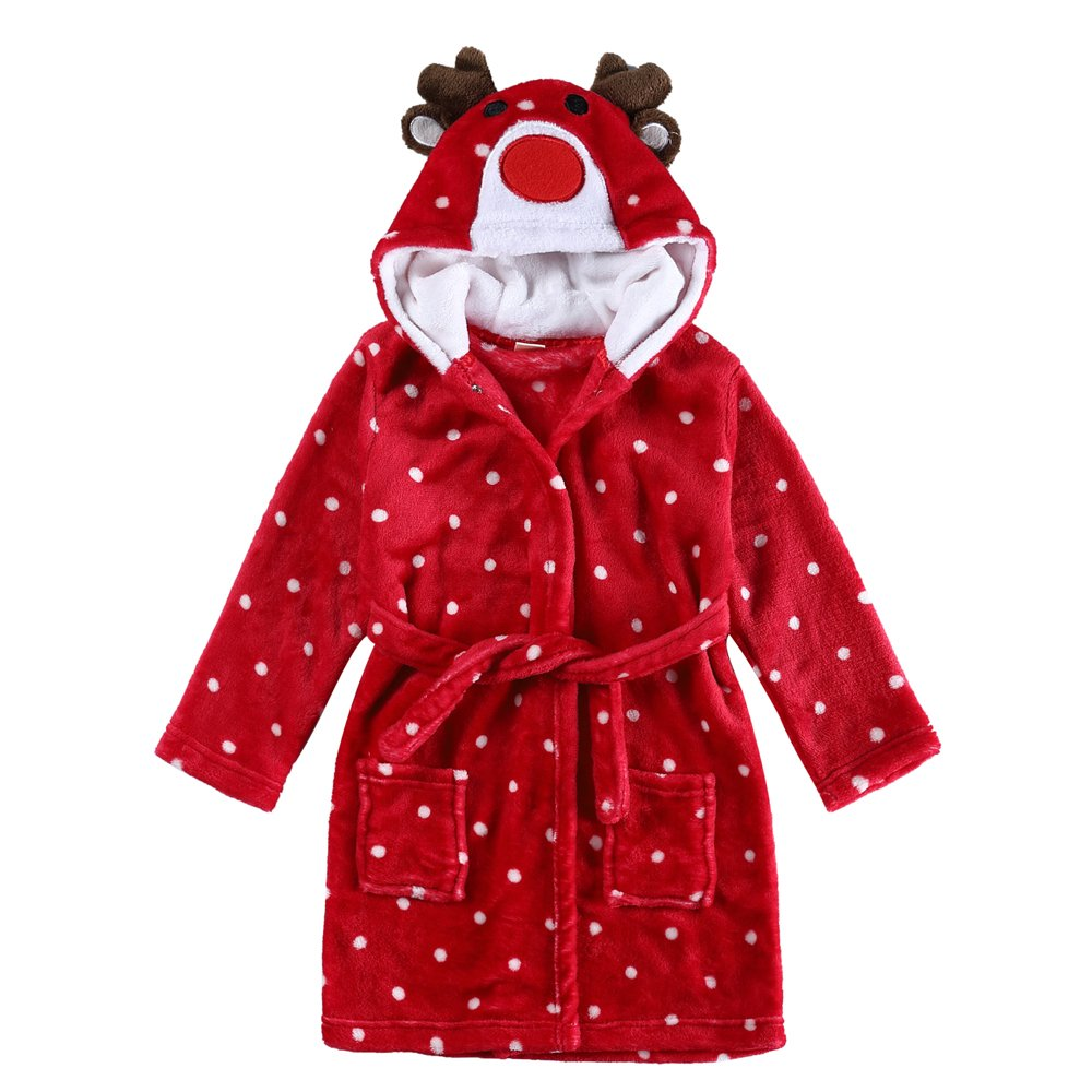 CHENXIN Kids Bathrobe Animal Coral Fleece Hooded Pajamas Sleepwear