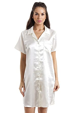 9936c84b1f Camille Womens Ladies Luxurious Knee Length Cream Satin Nightshirt 12   Camille  Amazon.co.uk  Clothing
