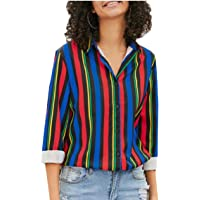 Women Casual V Neck Striped Button Down Shirts Tops Long Sleeve Blouse
