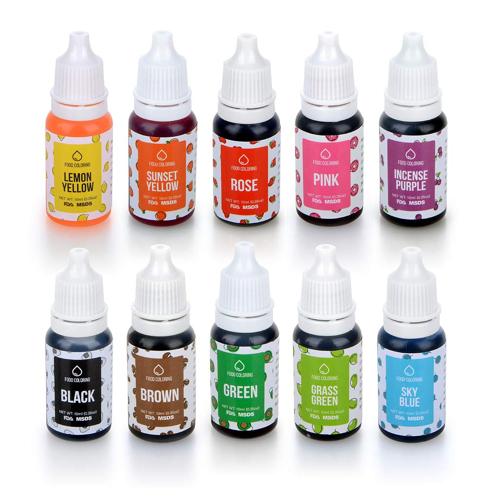 Food Colouring Set, Abree Gel Ice Colour Paste Kit Cakes Dye Flo  Concentrated Liquid Food Air Brush 10 x 10 ml
