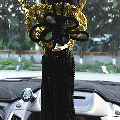 Jiannavip 1Set Lucky Chinese Auspicious JP Black Kin Rope Kiku Knot for Car Rearview Mirror Charms Ornaments (Gold&Black)