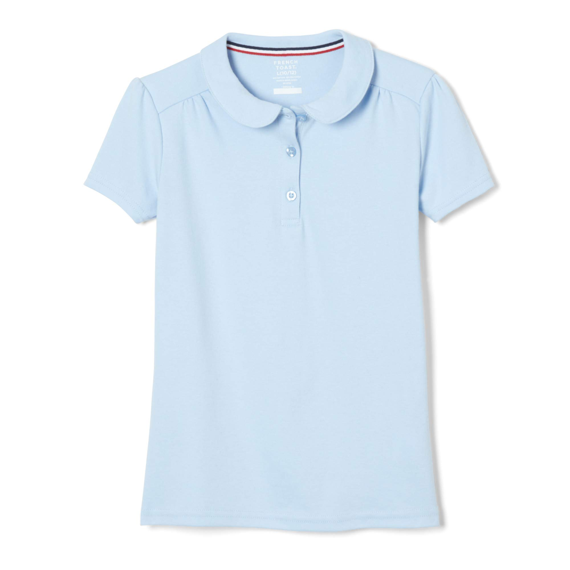 French Toast Girls' Big Short Sleeve Peter Pan Collar Polo Shirt, Light Blue, L (10/12) by French Toast