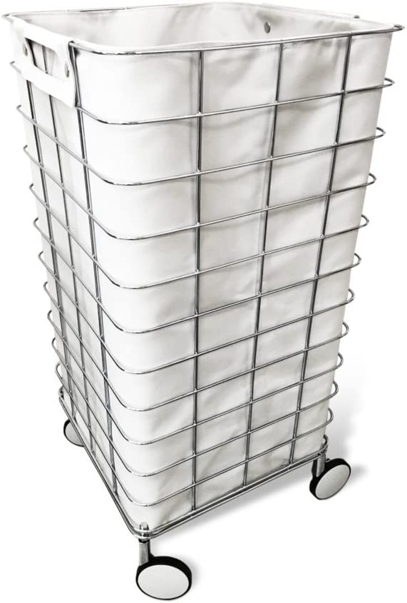 DWBA Rolling Hamper Round Laundry Basket with Removable Washable Laundy Bag (Polished Chrome)
