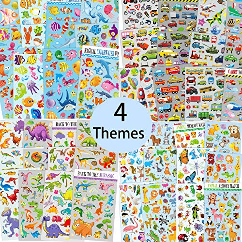 Variety Sticker Assortment of animals, fishes, dinosaurs, and cars. 48 sheets, 1000+ no repeat Zoo animal stickers assortment for toddlers, kids, Teachers Stickers for Classroom and Planning Stickers. ()
