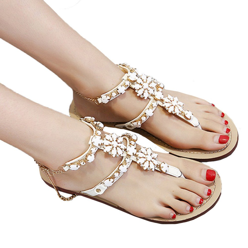 Ghazzi Womens Sandals Summer Flat Shoes Shining Rhinestones Chain Sandals T-Strap Comfortable Shoes Fashion Slippers