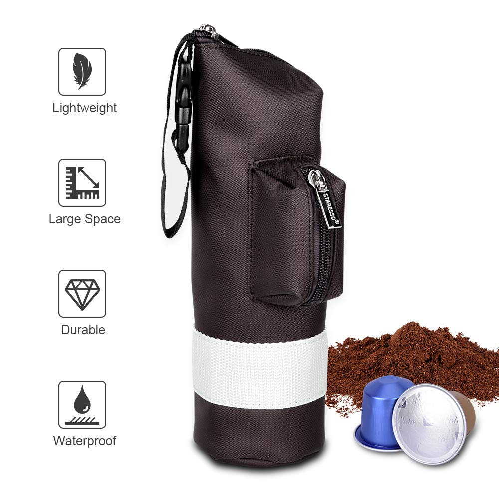 Carry Bag Compatible with STARESSO Portable Espresso Maker for Travel, Business Trip & Outdoor Activity, Lightweight Waterproof Protective Zipper Punch for Manual Coffee Maker & Capsule