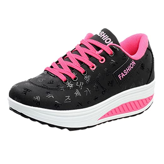 3a000e8ea8a5 Women s Girls Casual Lace Up Sneakers Thick Bottom Platform Wedges Shoes  for Sports Running Hiking Size