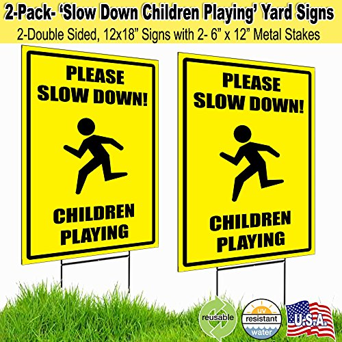 12x18 Please Slow Down Children Playing Lawn Signs with H-stakes (2)