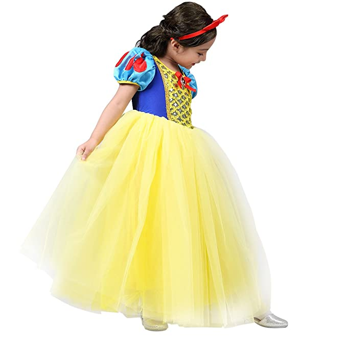 Amazon.com: pamidadress Niñas Disfraz de princesa blanco ...