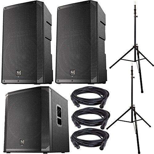 (EV ELX200-10P Speakers (x2) & ELX200-18SP Subwoofer w/ Ultimate Stands)