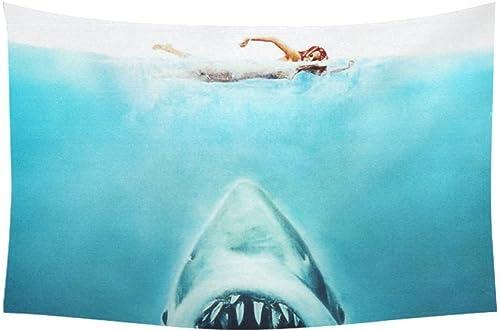 Custom Home Decor Wall Art Shark Cotton Linen Hanging Wall Tapestry 90 x 60