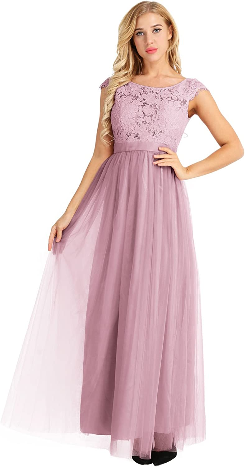 80s Prom Dresses – Party, Cocktail, Bridesmaid, Formal YiZYiF Cap Sleeve Lace Floral Tulle Backless Bridesmaid Evening Dress $45.30 AT vintagedancer.com