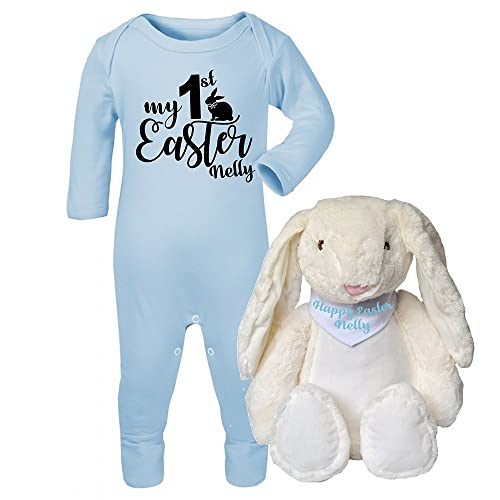 e38daf6d1 Personalised My First Easter Babygrow and Bunny Teddy Set New Baby Gifts  Newborn baby Gifts Personalised
