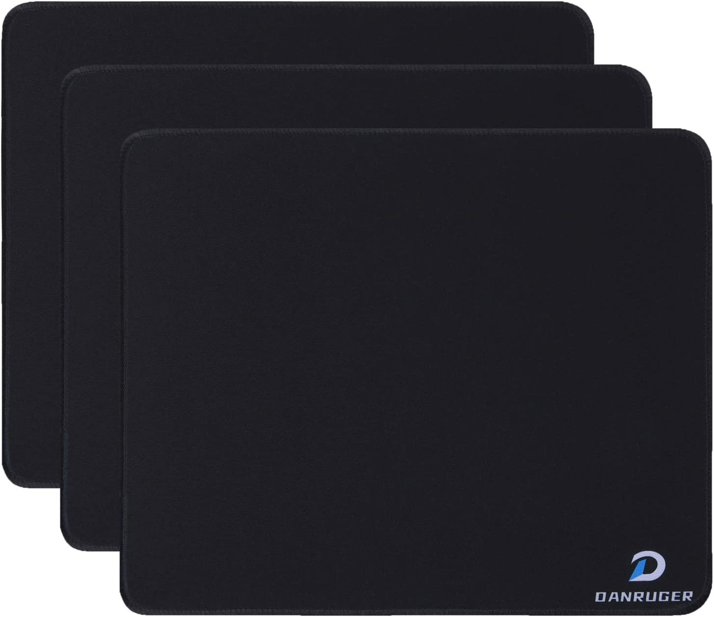 Mouse pad with Stitched Edge,Smooth Surface,Non-Slip Rubber Base,Mouse Mat for Computer,Laptop & PC,Mousepad for Office & Home,10.0×8.2×0.08 inches,3Pack (Black-3)