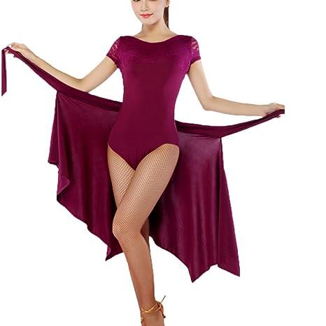 Rongg Baile Latino Vestidos para Mujer Práctica Profesional Falda ...