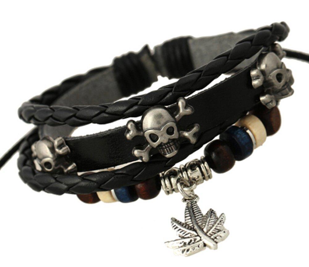 TEMEGO Jewelry Mens Womens Genuine Leather Braided Wrap Bracelet, Vintage Gothic Skull Leaf Charm Cuff Bracelet, Adjustable Fits 7-12 inch, Black Silver
