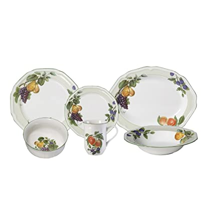 Mikasa Antique Orchard 32 Piece Dinnerware Set with Serving Pieces Service for 8  sc 1 st  Amazon.com & Amazon.com   Mikasa Antique Orchard 32 Piece Dinnerware Set with ...