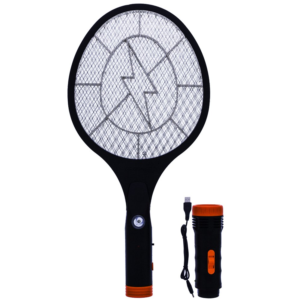 Koramzi F-12 Electric Mosquito Swatter//Bug Zapper with Rechargeable Battery and Removable Flash Light and Handle Light
