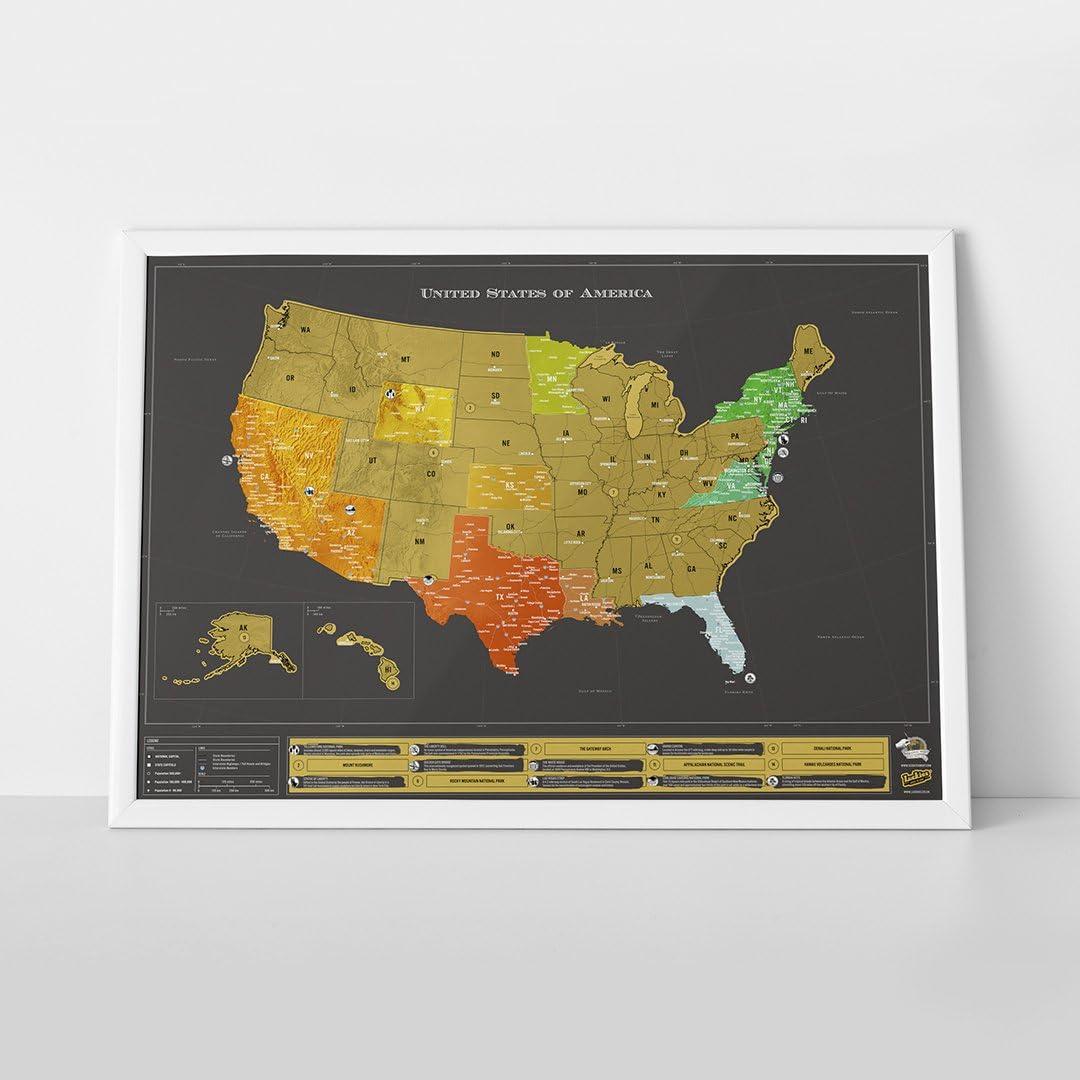 Gro/ß USA Luxus Das Original Scratch Map Luckies of London Weltkarte zum Rubbeln 82,5 x 59,4cm