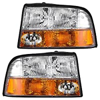 Driver and Passenger Headlights Headlamps with Fog Lamps Replacement for GMC Pickup Truck SUV 16526225 16526226