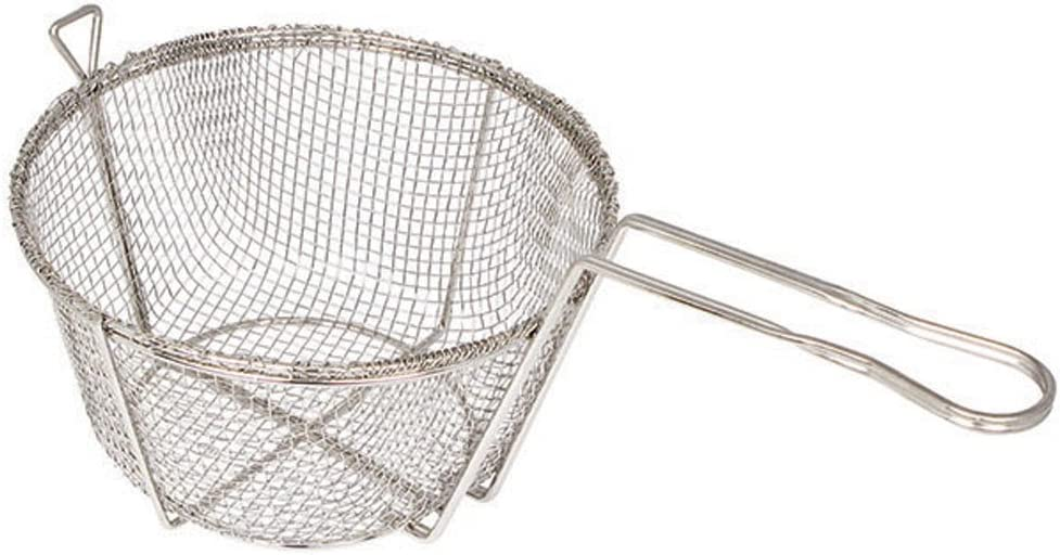 Winco FBR-9, 9-Inch 4-Mesh Round Wire Fry Basket with Handle, Heavy-Duty Deep Fryer Basket