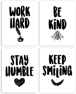 Ihopes Inspirational Quote Positive Affirmations Wall Art Print Poster Decor - Work Hard,Be Kind,Stay Humble,Keep Smiling - Best Office/Home/Classroom Decor Gifts - Set of Four 8x10 Unframed