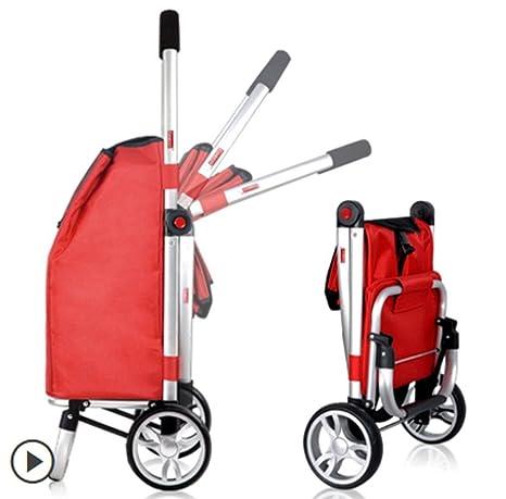 Carro de compras plegable de dos ruedas Carro pequeño Carretilla para equipaje tirada a mano, ...