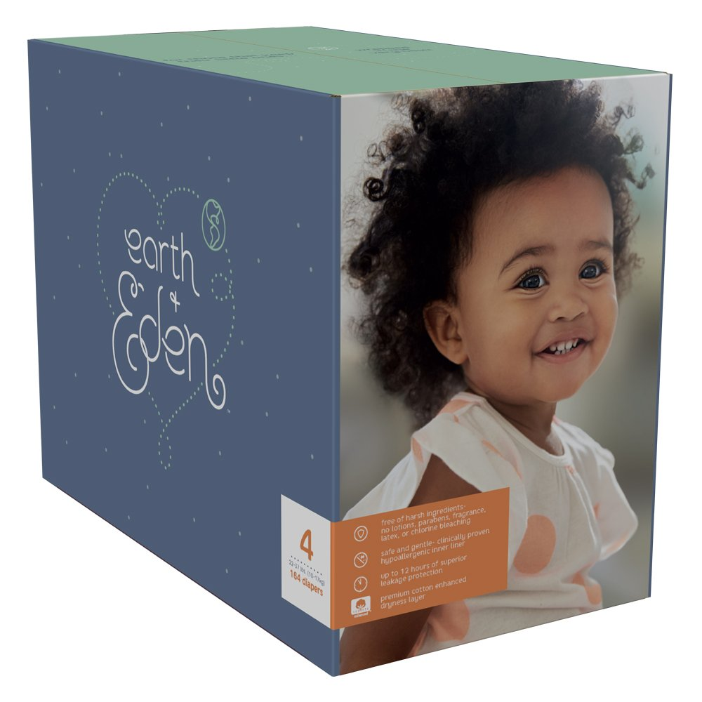Earth + Eden Baby Diapers, Size 4, 164 Count by Earth+Eden