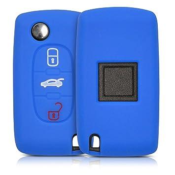 kwmobile Funda de Silicona para Llave de 3 Botones para Coche Peugeot Citroen - Carcasa Protectora [Suave] de [Silicona] - Case Mando de Auto [Azul]
