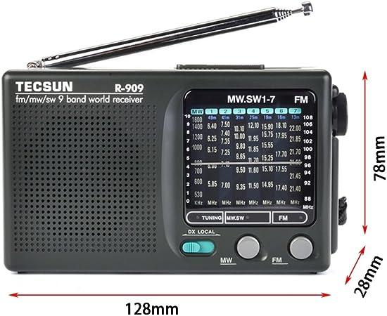 TECSUN R-909 Portable AM FM Radio Shortwave Pocket Radio Player Multi-Band Black